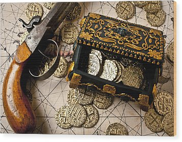 Treasure Box With Old Pistol Wood Print by Garry Gay