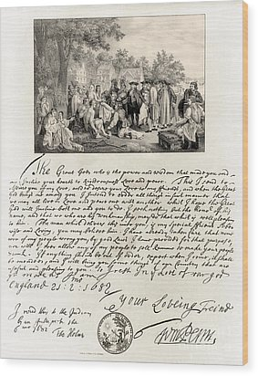 Treaty Between William Penn Wood Print by Photo Researchers