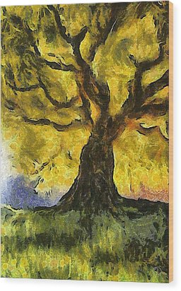 Tree  A La Van Gogh Wood Print by Gun Legler