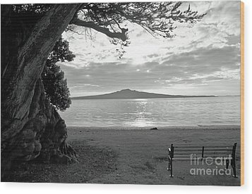 Tree And Ocean And Bench And Volcano Wood Print by Yurix Sardinelly