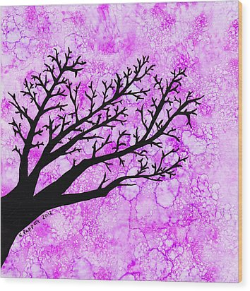 Tree Branch On Pink Splash Wood Print by Karen Pappert