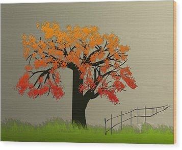 Tree In Seasons - 4 Wood Print by Asok Mukhopadhyay