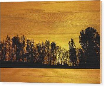 Tree Line On Wood Wood Print by Ann Powell