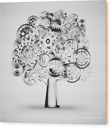 Tree Of Industrial Wood Print by Setsiri Silapasuwanchai