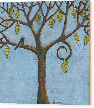 Tree Of Life Blue Sky Wood Print by Blenda Studio
