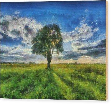 Wood Print featuring the painting Tree Of Life by Joe Misrasi