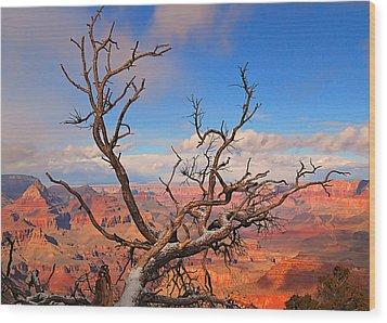 Tree Over Grand Canyon Wood Print