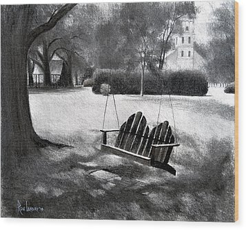 Tree Swing In Grand Coteau Wood Print by Ron Landry