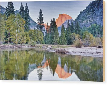 Trees And Mountain Reflection In River Wood Print by Inspirational Images by Ken Hornbrook