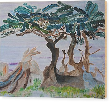 Trees By The Sea Wood Print by Meryl Goudey