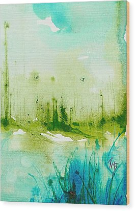 Trees By Water Wood Print by Robin Miller-Bookhout