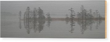 Wood Print featuring the digital art Trees In The Mist Panorama by Claude McCoy