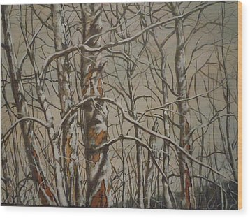 Wood Print featuring the painting Trees In The Mountains by James Guentner