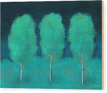 Trees In Triplicate Moonlit Winter Wood Print by Robin Lewis