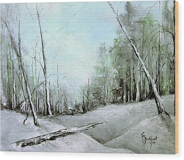 Trees In Winter #2 Wood Print by Robin Miller-Bookhout