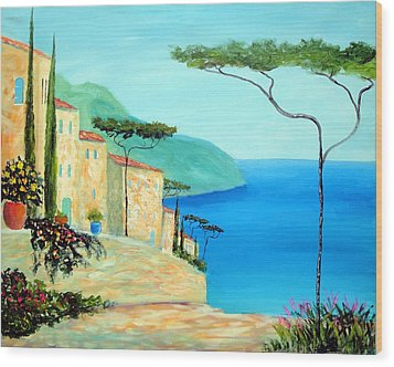 Trees Of The Mediterranean Wood Print by Larry Cirigliano