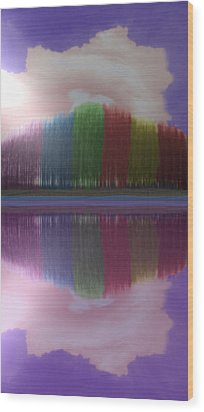 Trees With Color And Light Wood Print by Angela Stout