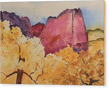 Treetops In The Mountains Wood Print