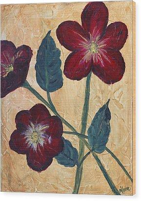 Tres Fleurs Wood Print by Maureen House