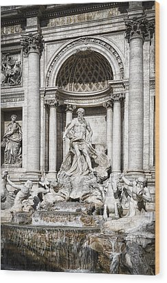 Trevi Fountain Detail Wood Print by Joan Carroll