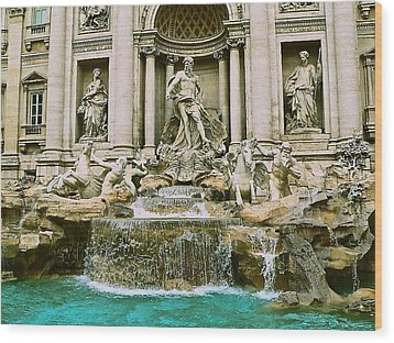 Trevi Fountain Wood Print by Eric Tressler