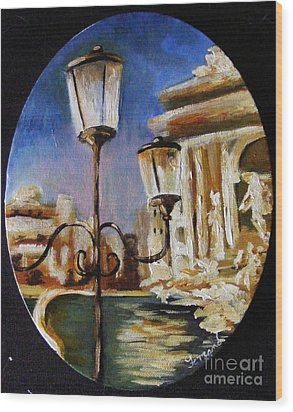 Wood Print featuring the painting Trevi Fountain by Karen  Ferrand Carroll