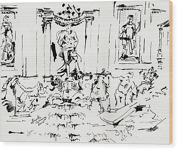 Trevi Fountain Rome Italy Ink Drawing By Ginette Wood Print by Ginette Callaway