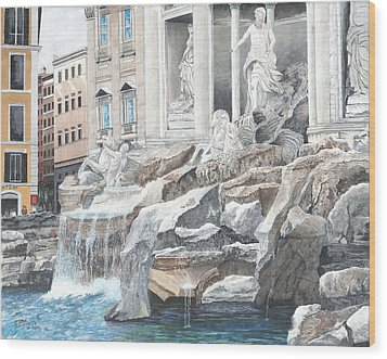 Wood Print featuring the painting Trevi Fountain Rome by Stuart B Yaeger