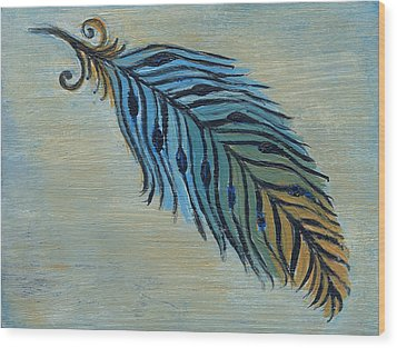 Tri-color Feather Wood Print by Kristen Fagan