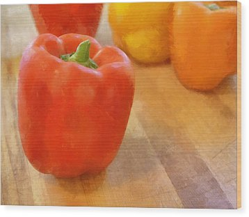 Tri Colored Peppers Wood Print by Michelle Calkins