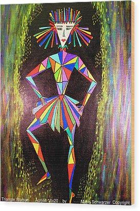 Triangle Woman Wood Print