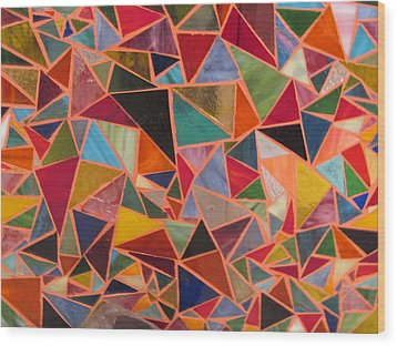 Triangles Wood Print by Donna Moore