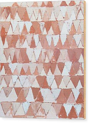 Triangular Sepia And White Waves Wood Print by Kazuya Akimoto