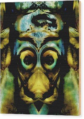 Tribal Mask Wood Print by Skip Nall