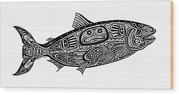 Tribal Salmon Wood Print by Carol Lynne