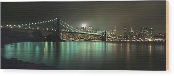 Tribute In Light, Lower Manhattan On Wood Print by Axiom Photographic