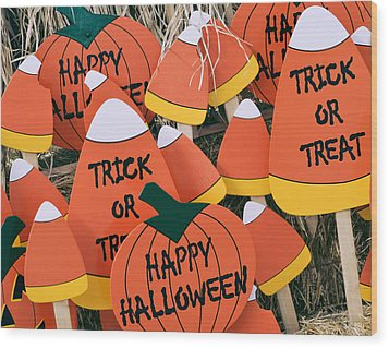 Trick Or Treat Happy Halloween Wood Print by Julie Palencia