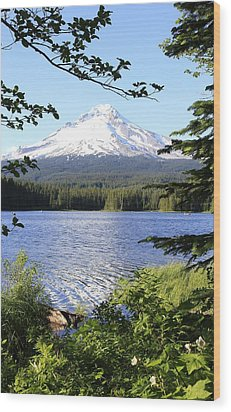 Wood Print featuring the photograph Trillium Lake At Mt. Hood by Athena Mckinzie