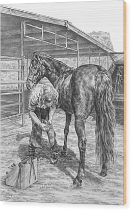 Trim And Fit - Farrier With Horse Art Print Wood Print