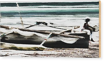 Wood Print featuring the digital art Trimarano by Andrea Barbieri