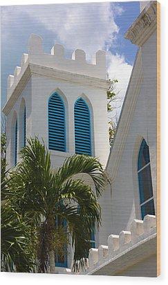 Wood Print featuring the photograph Trinity Presbyterian Church Tower by Ed Gleichman