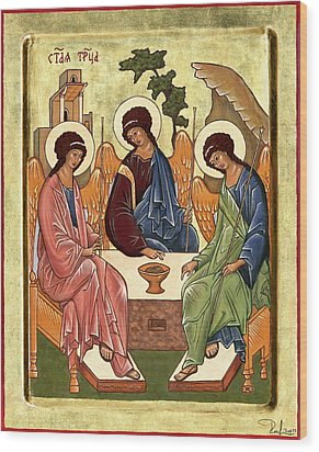 Wood Print featuring the painting Trinity by Raffaella Lunelli