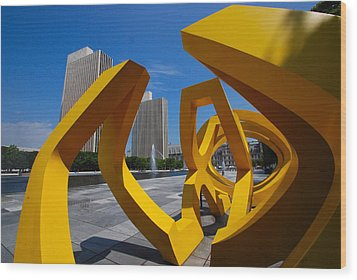 Wood Print featuring the photograph Trio On The Plaza by John Schneider