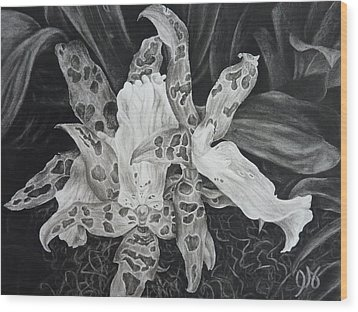 Triple Orchid Blossom Wood Print by Estephy Sabin Figueroa