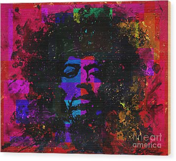 Tripping With Hendrix Wood Print by Chris Mackie