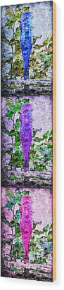 Triptych Cobalt Blue Purple And Magenta Bottles Triptych Vertical Wood Print by Andee Design