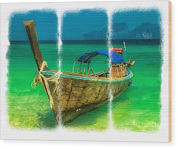 Triptych Longboat Wood Print by Adrian Evans