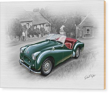 Triumph Tr-2 Sports Car Wood Print by David Kyte