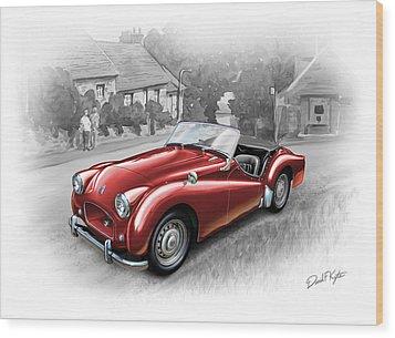 Triumph Tr-2 Sports Car In Red Wood Print by David Kyte