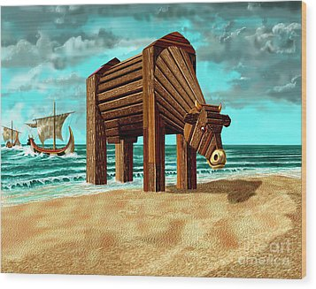 Trojan Cow Wood Print by Russell Kightley
